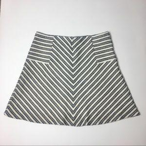 LOFT Black & White Striped Textured Skirt